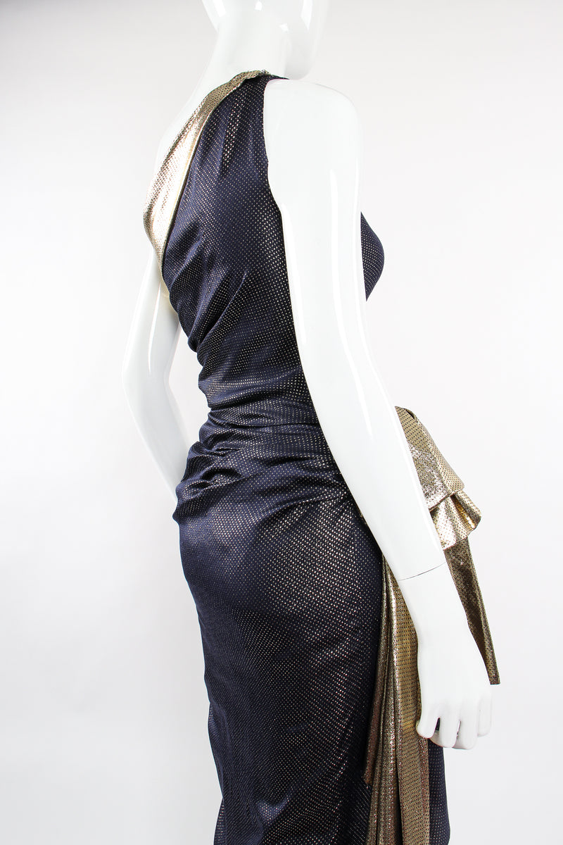 Vintage Vicky Tiel One Shoulder Metallic Dot Sheath Gown on Mannequin back angle crop at Recess LA