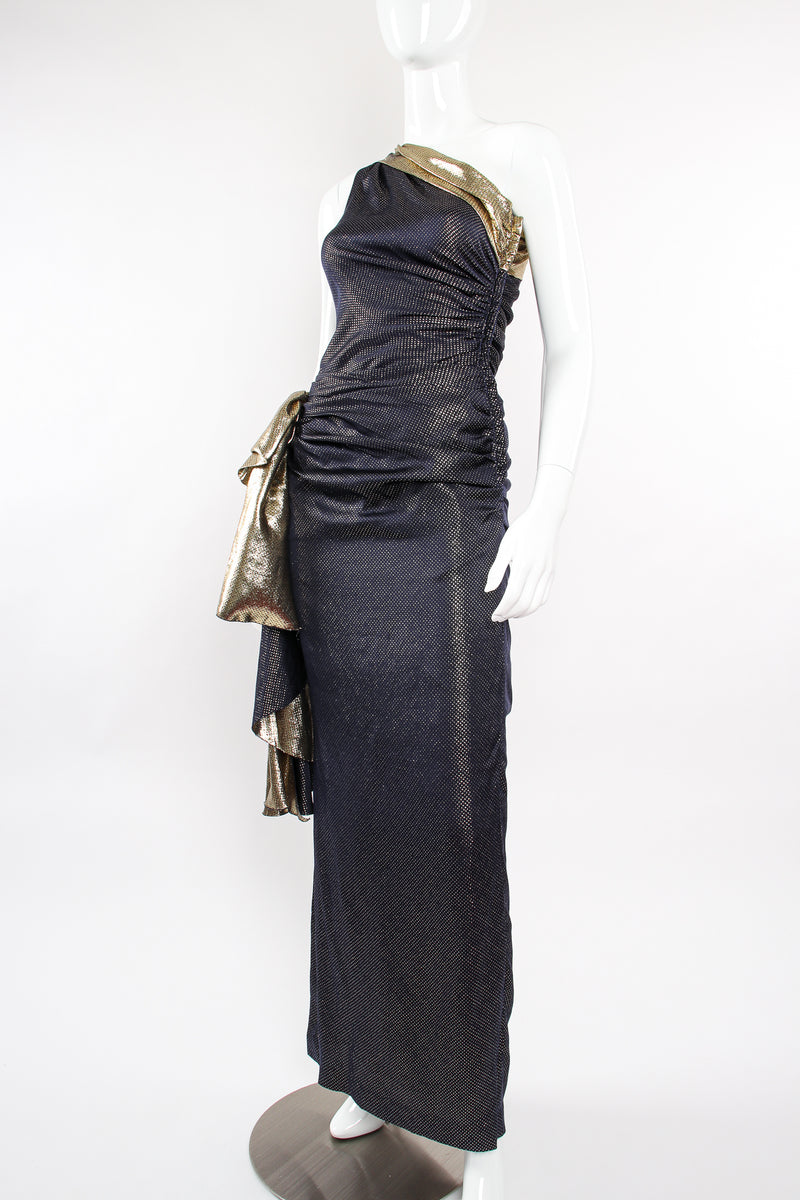 Vintage Vicky Tiel One Shoulder Metallic Dot Sheath Gown on Mannequin angle at Recess LA