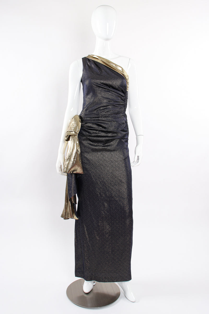 Vintage Vicky Tiel One Shoulder Metallic Dot Sheath Gown on Mannequin front at Recess LA