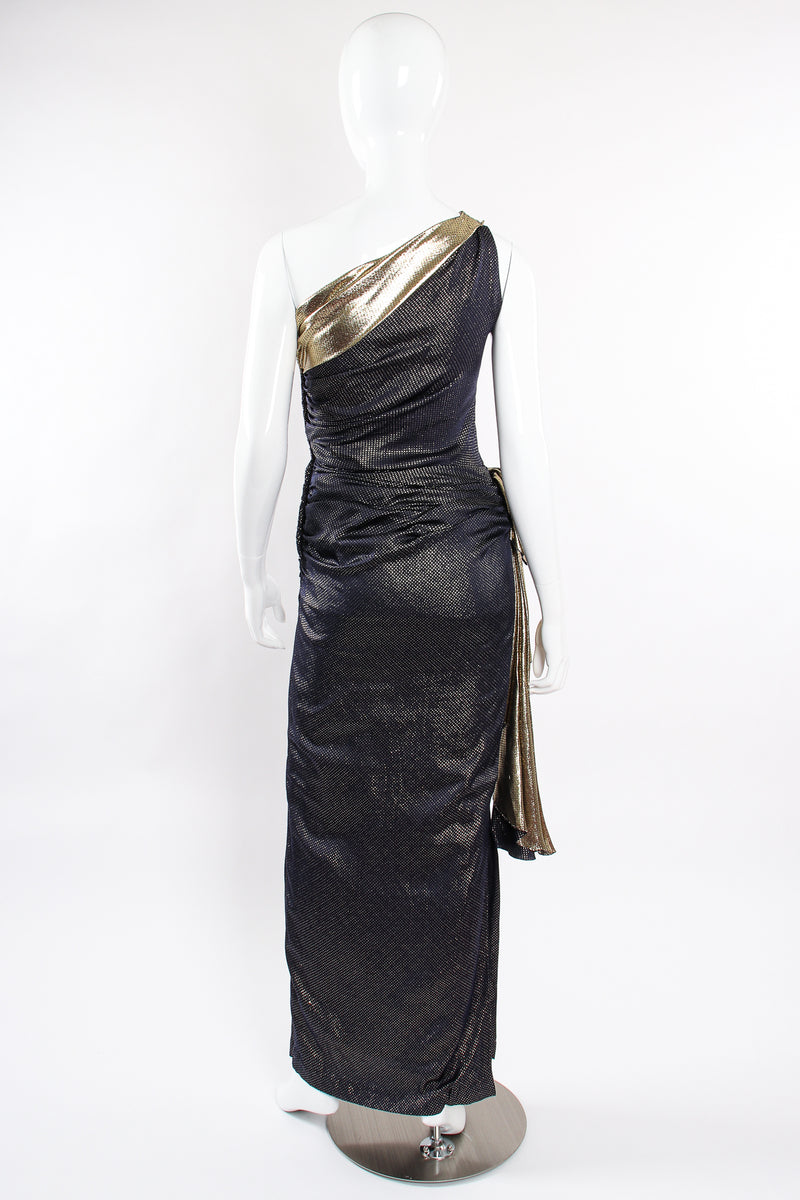 Vintage Vicky Tiel One Shoulder Metallic Dot Sheath Gown on Mannequin back at Recess LA