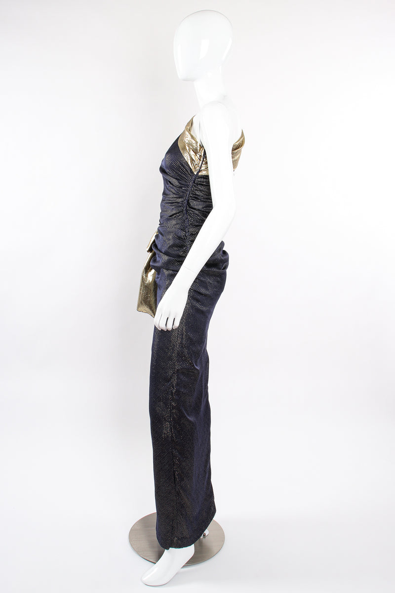 Vintage Vicky Tiel One Shoulder Metallic Dot Sheath Gown on Mannequin side at Recess LA