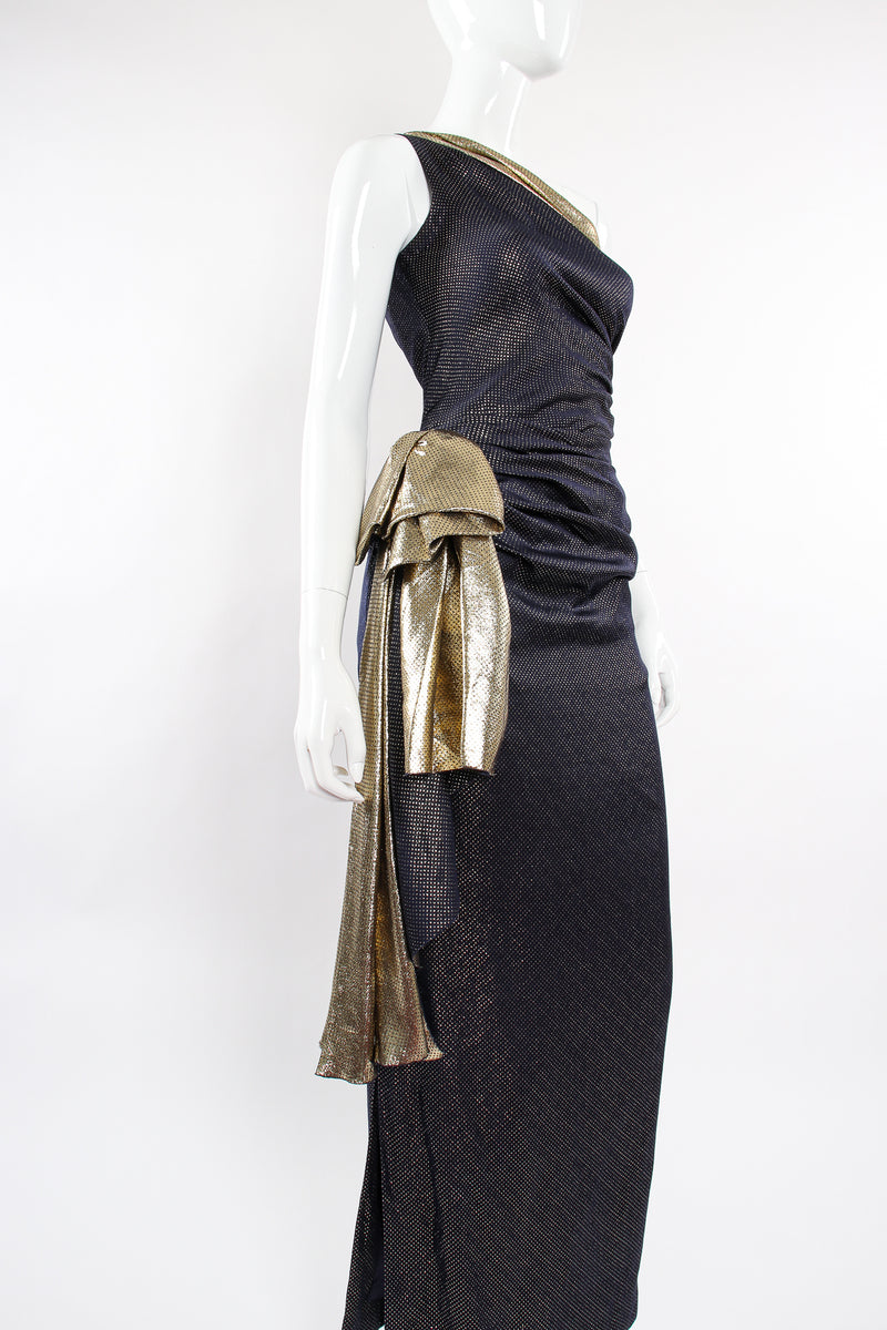 Vintage Vicky Tiel One Shoulder Metallic Dot Sheath Gown on Mannequin angle at Recess Los Angeles