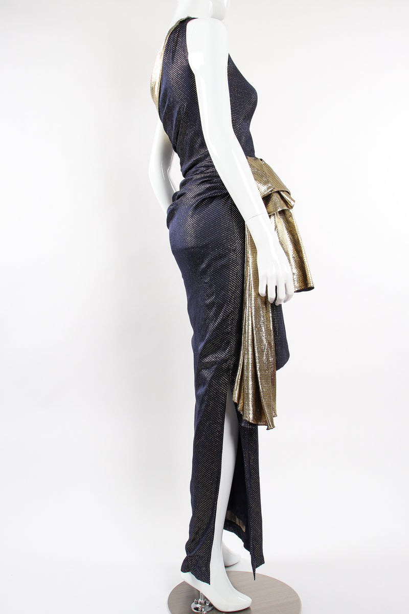 Vintage Vicky Tiel One Shoulder Metallic Dot Sheath Gown on Mannequin back angle at Recess LA