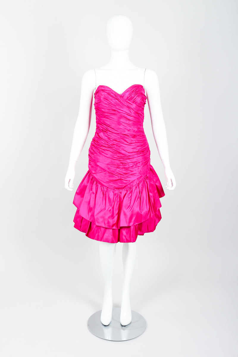 Vintage Vicky Tiel Hot Neon Ruched Cocktail Dress on Mannequin front at Recess