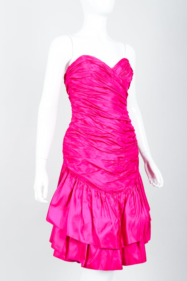 Vintage Vicky Tiel Hot Neon Ruched Cocktail Dress on Mannequin side Crop at Recess
