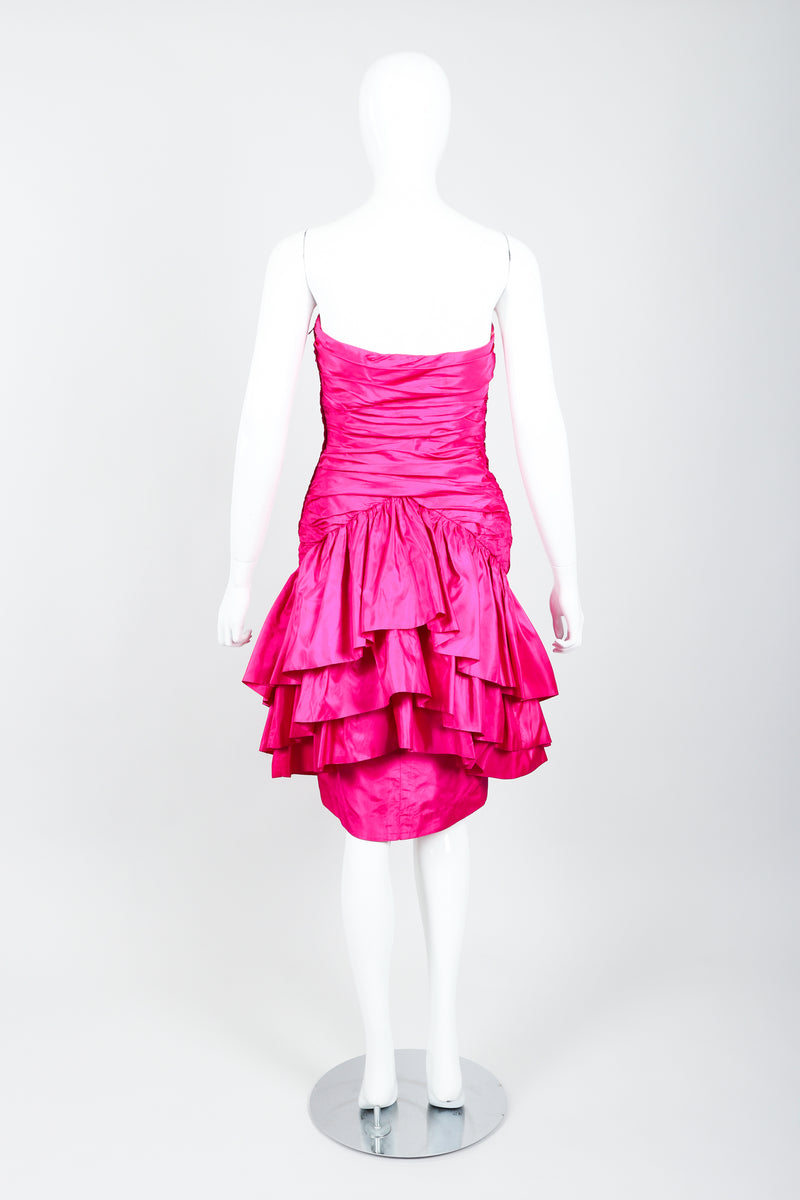Vintage Vicky Tiel Hot Neon Ruched Cocktail Dress on Mannequin Back at Recess