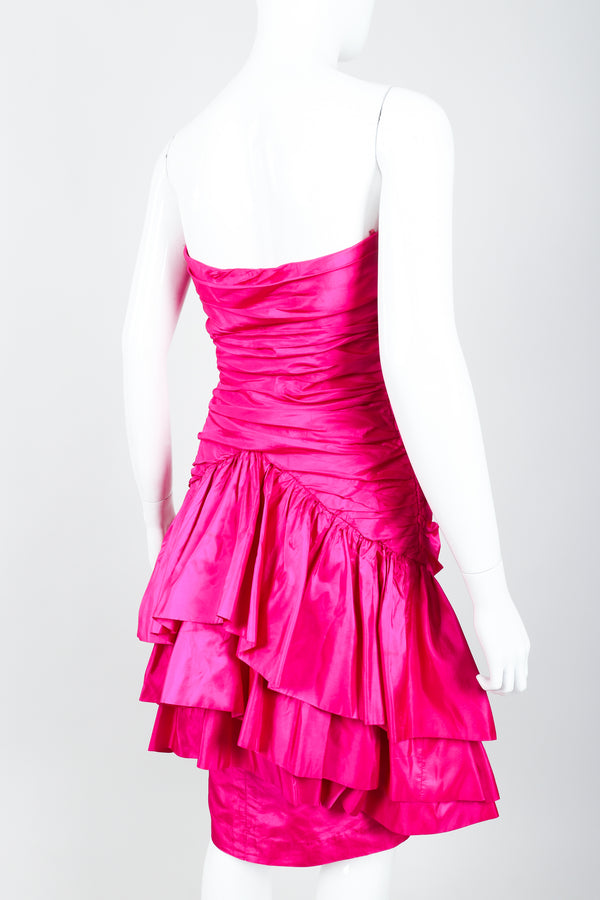 Vintage Vicky Tiel Hot Neon Ruched Cocktail Dress on Mannequin Rear Crop at Recess
