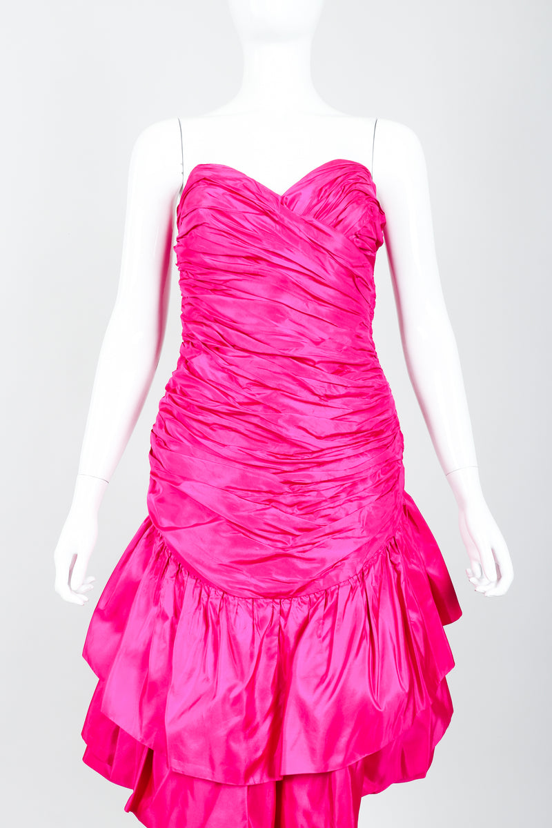 Vintage Vicky Tiel Hot Neon Ruched Cocktail Dress on Mannequin front Crop at Recess