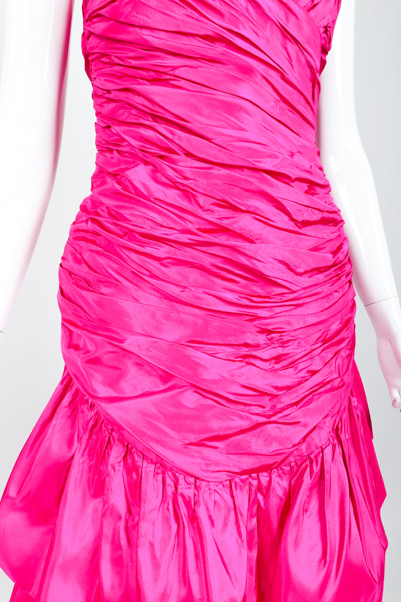 Vintage Vicky Tiel Hot Neon Ruched Cocktail Dress on Mannequin torso at Recess