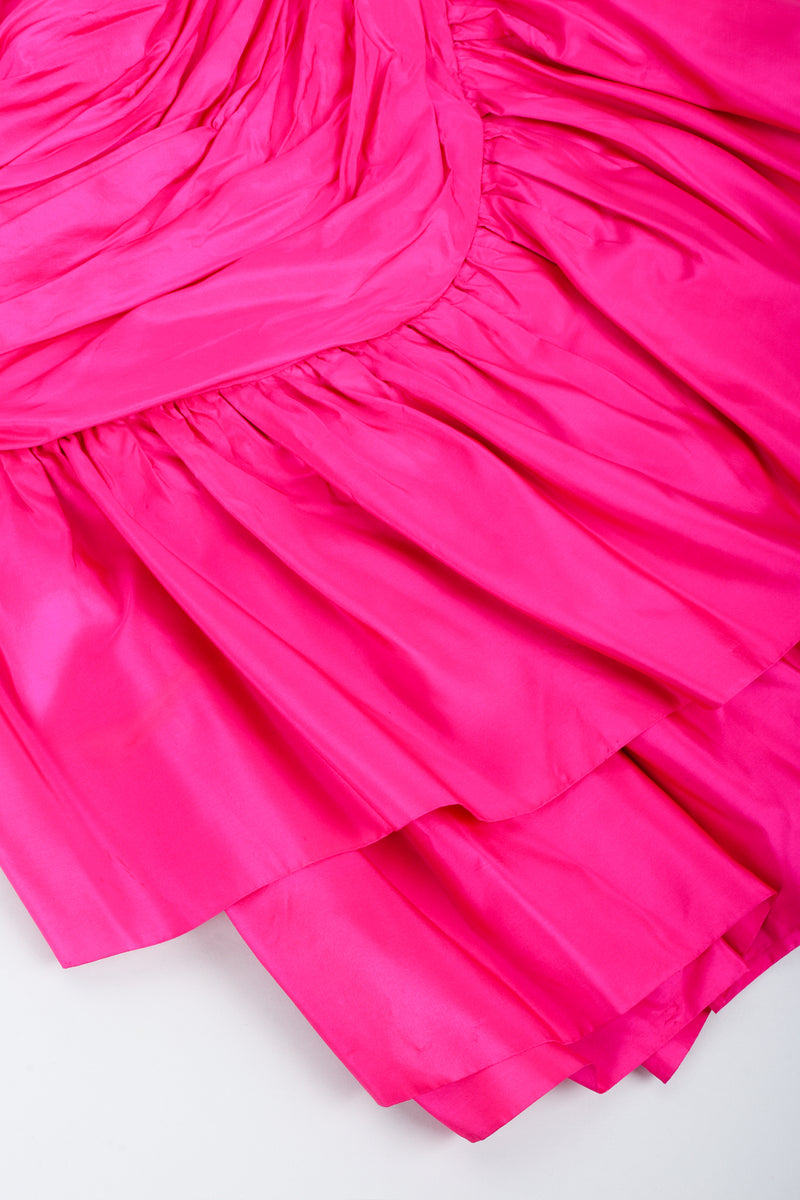 Vintage Vicky Tiel Hot Neon Ruched Cocktail Dress Skirt Hem at Recess