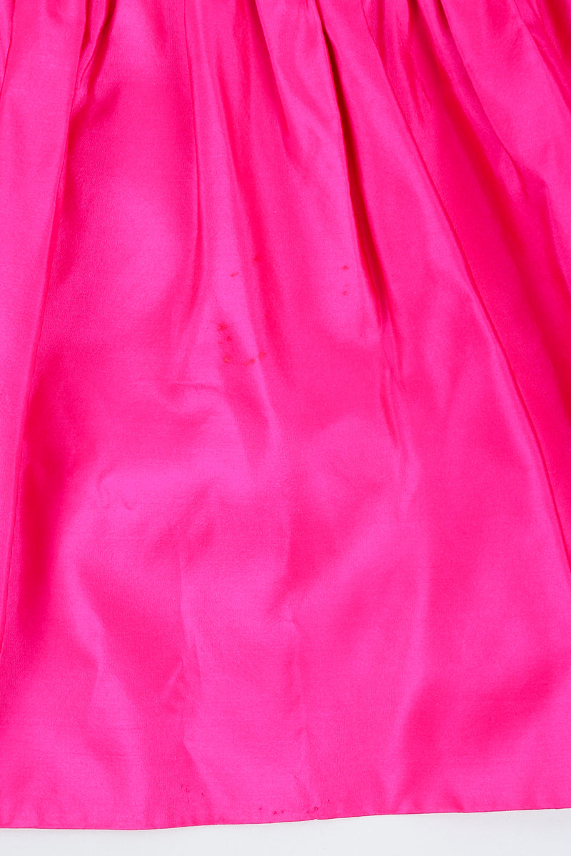 Vintage Vicky Tiel Hot Neon Ruched Cocktail Dress staining on skirt