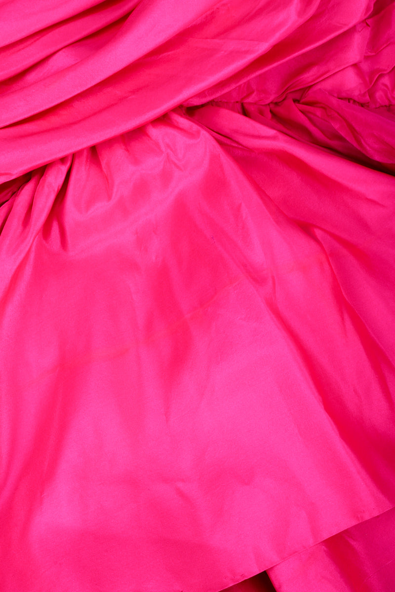 Vintage Vicky Tiel Hot Neon Ruched Cocktail Dress staining and run