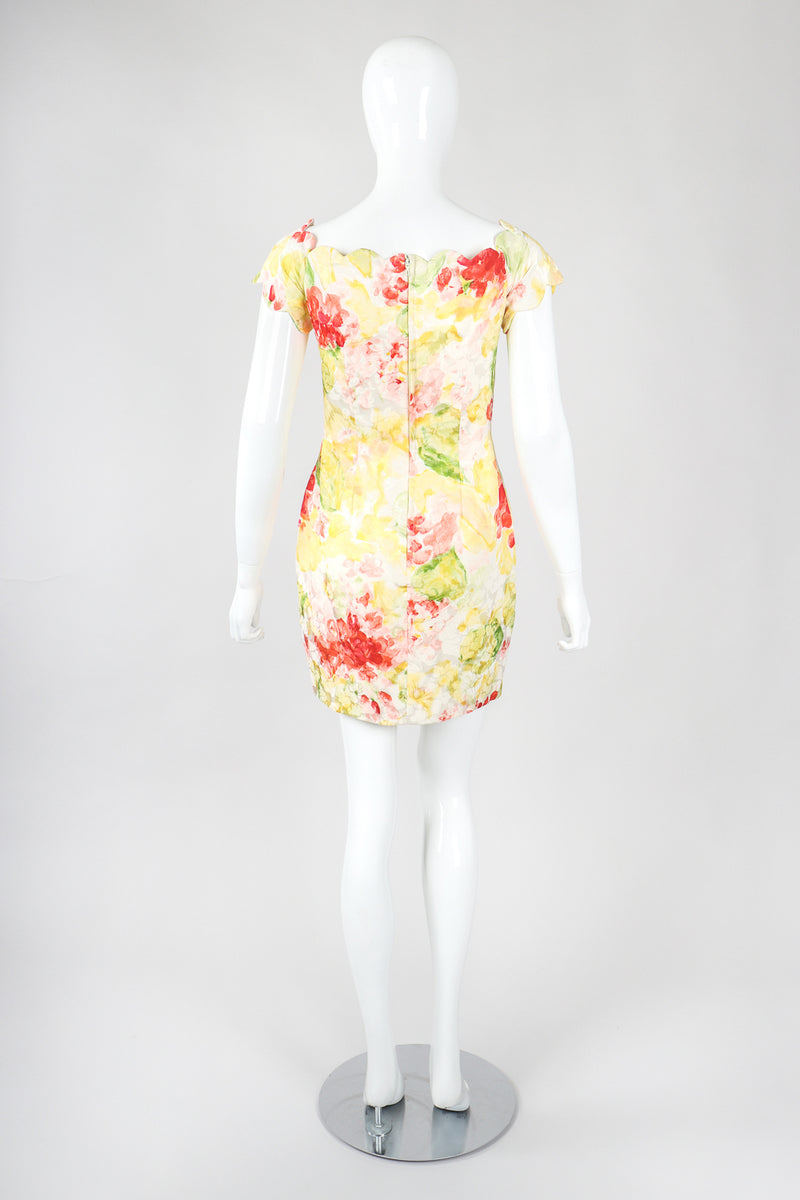 Recess Designer Consignment Vintage Vicky Tiel Floral Watercolor Off The Shoulder Corset Cocktail Dress