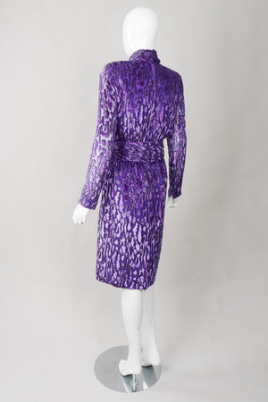 Victor Costa Animal Print Silk Velvet Burnout Dress
