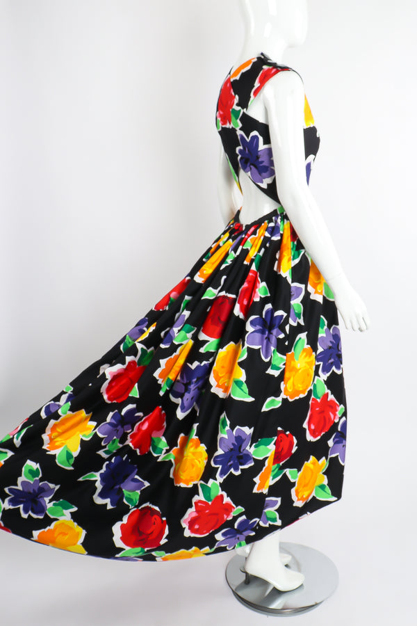 Vintage Victor Costa Floral Sateen Crossback Gown on Mannequin Angle Back at Recess Los Angeles