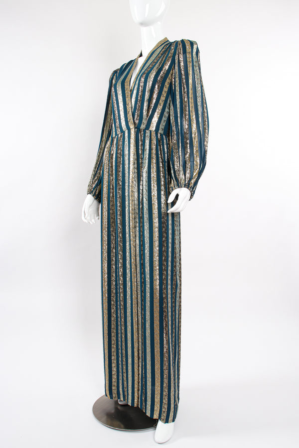 Vintage Victor Costa Metallic Ribbon Stripe Silk Gown on Mannequin angle at Recess Los Angeles