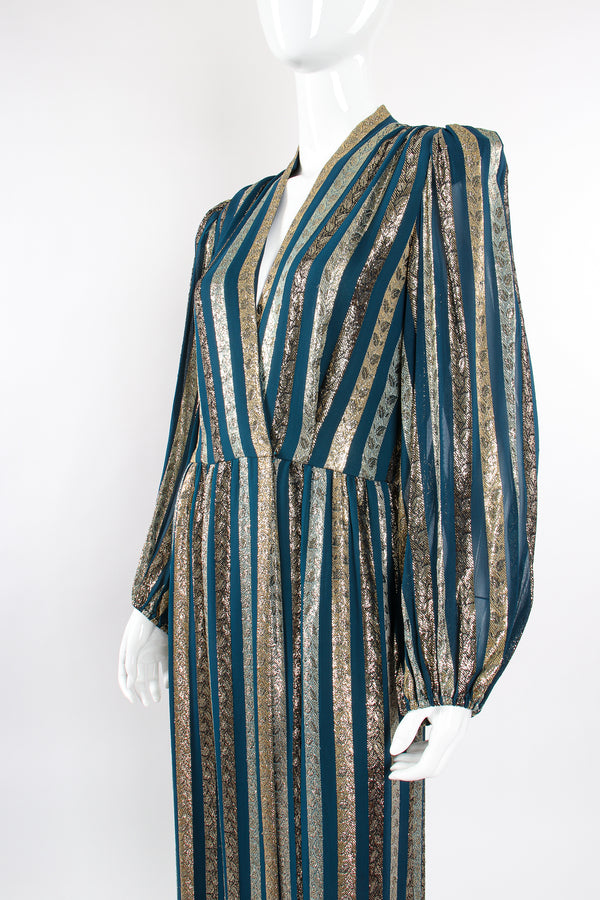 Vintage Victor Costa Metallic Ribbon Stripe Silk Gown on Mannequin angle crop at Recess Los Angeles