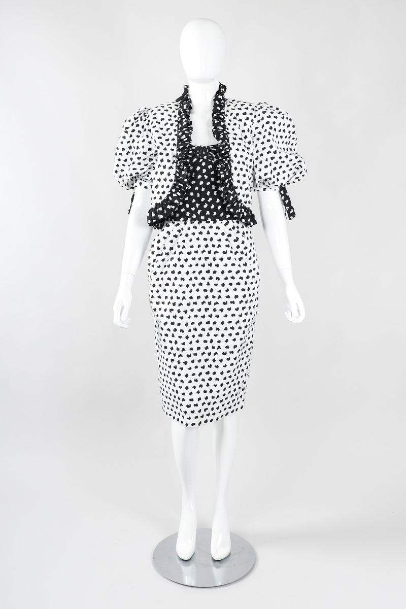 Recess Los Angeles Vintage Victor Costa Positive/Negative Splatter Dot Love Lemons Dress Set