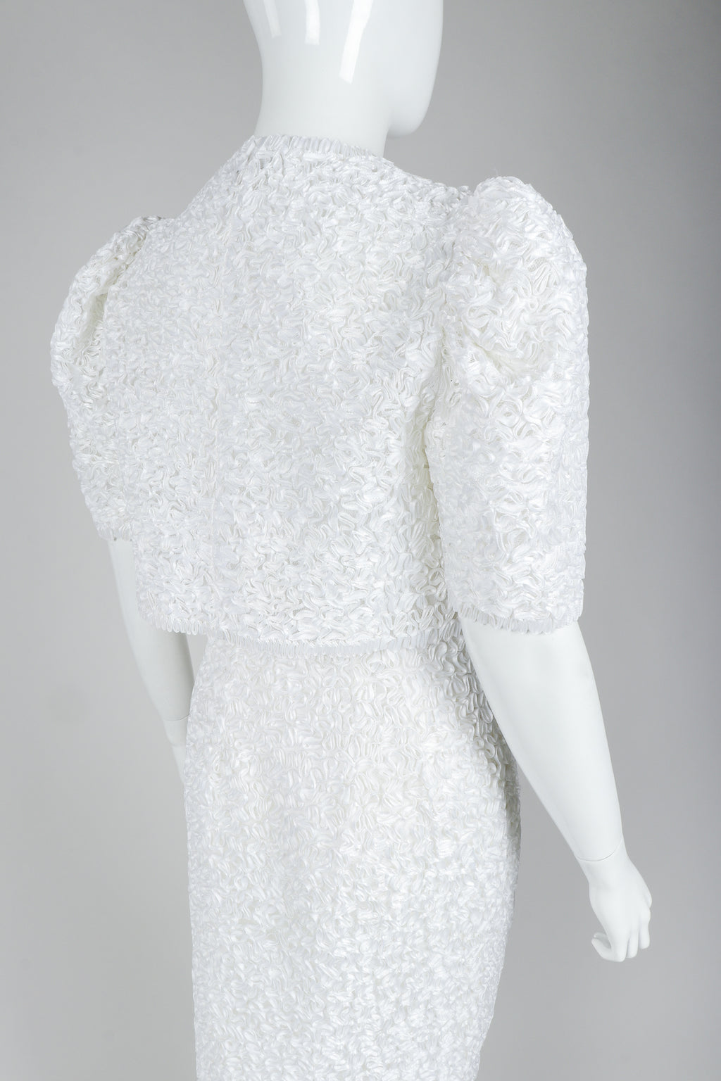 Victor Costa White Ribbon Lace Jacket and White Skirt, Back Angle on Mannequin at Recess