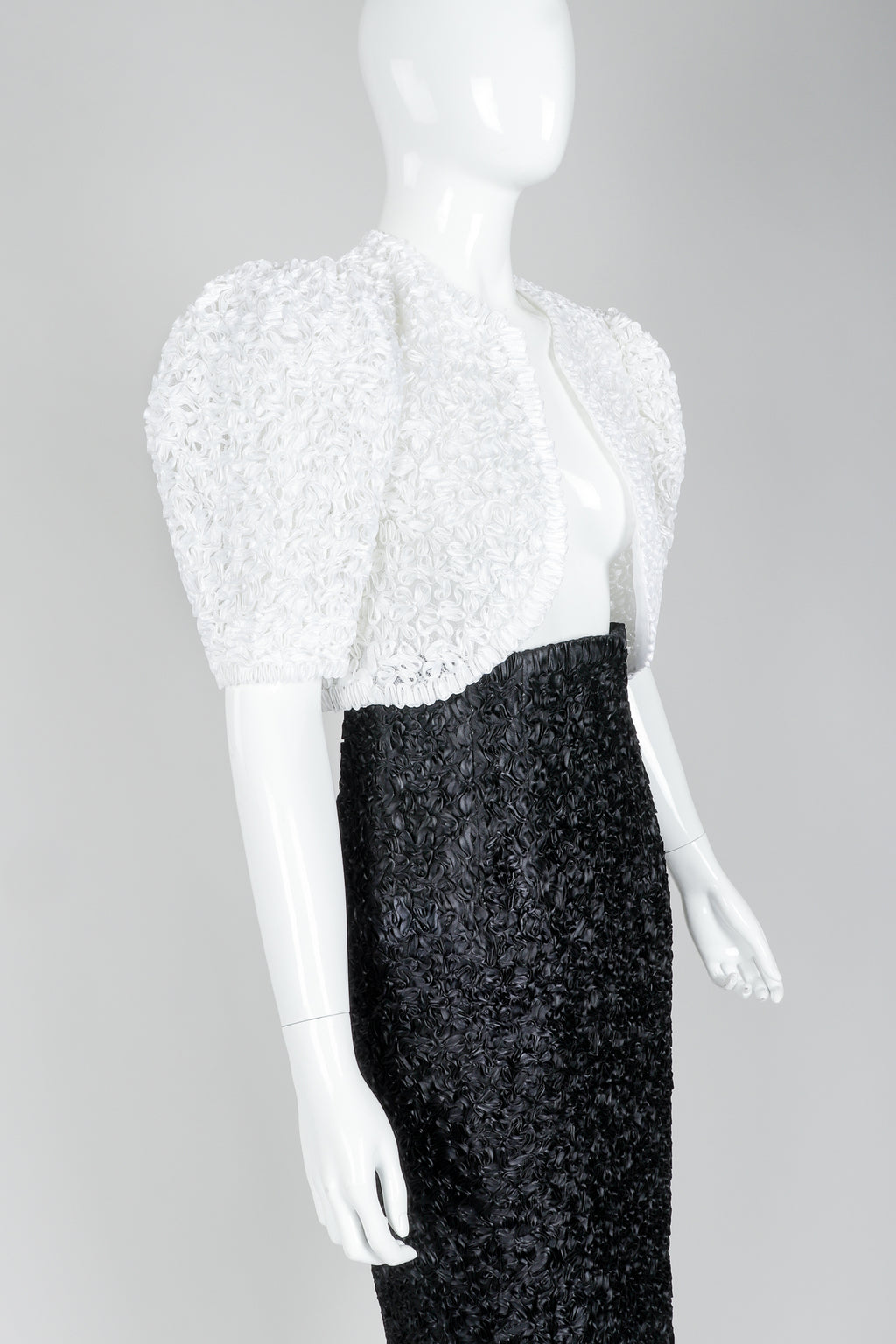 Victor Costa White Ribbon Lace Jacket and Black Skirt, Closeup on Mannequin at Recess