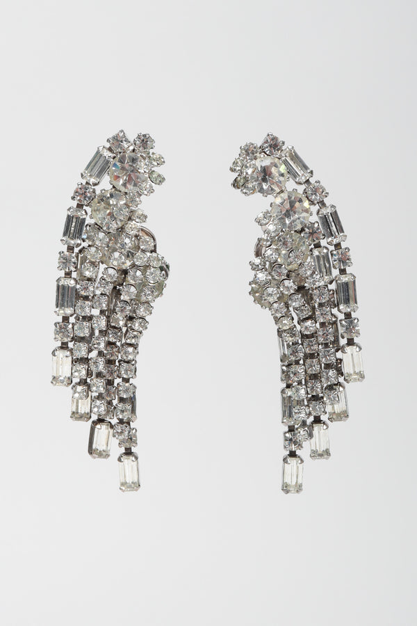 Reces Los Angeles Vintage Weiss Crystal Waterfall Falling Stars Ear Climber Earrings