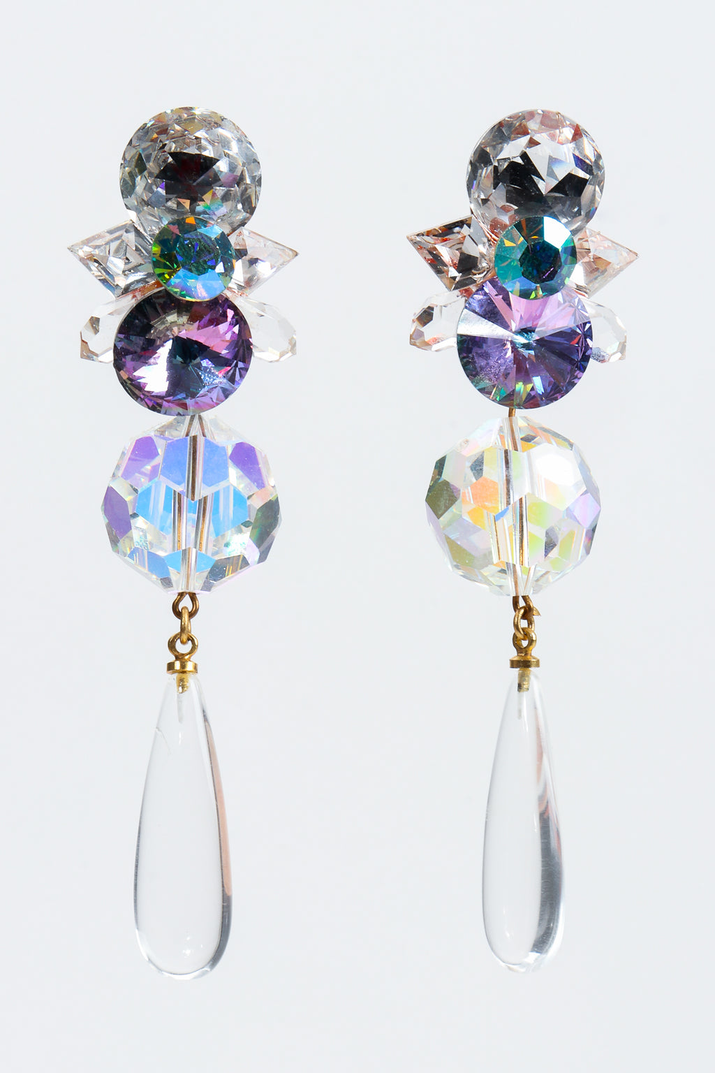 Vintage Wendy Gell Iridescent Crystal Teardrop Earrings at Recess Los Angeles
