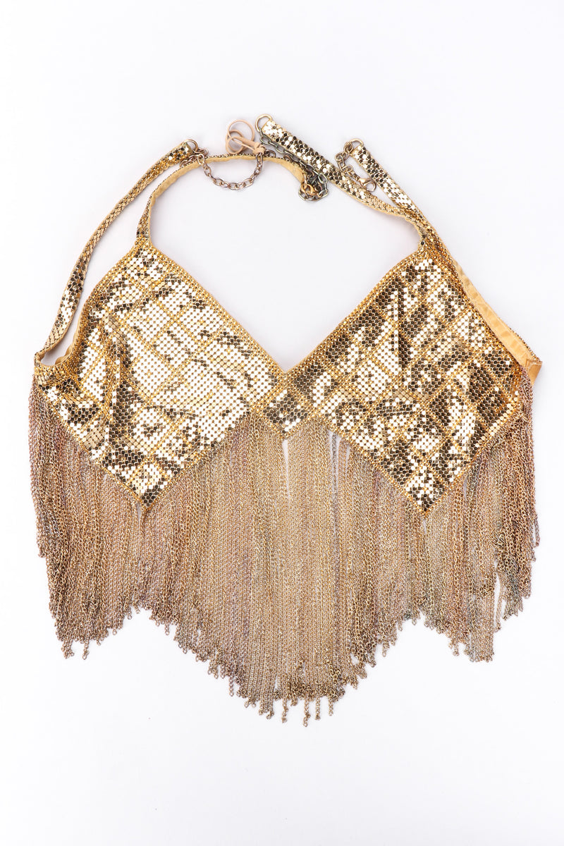 Recess Los Angeles Vintage Western Fashion Gold Metal Mesh Fringe Shimmy Bikini Top & Skirt Set