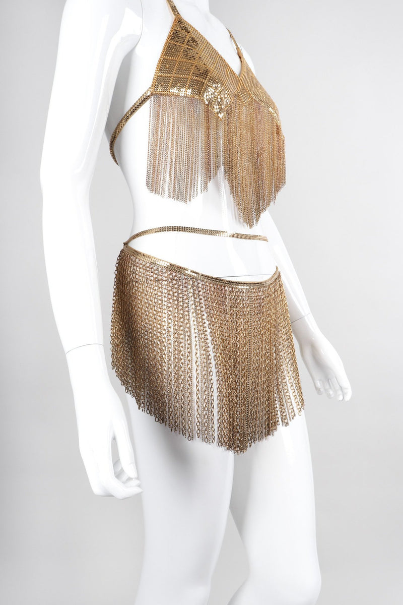 Recess Los Angeles Vintage Western Fashion Vegas Gold Metal Mesh Fringe Shimmy Bikini Top & Skirt Set