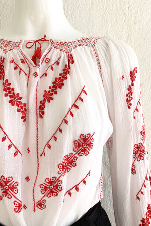 Vintage Folk Embroidered Gauze Peasant Blouse on Mannequin Front Crop at Recess Los Angeles