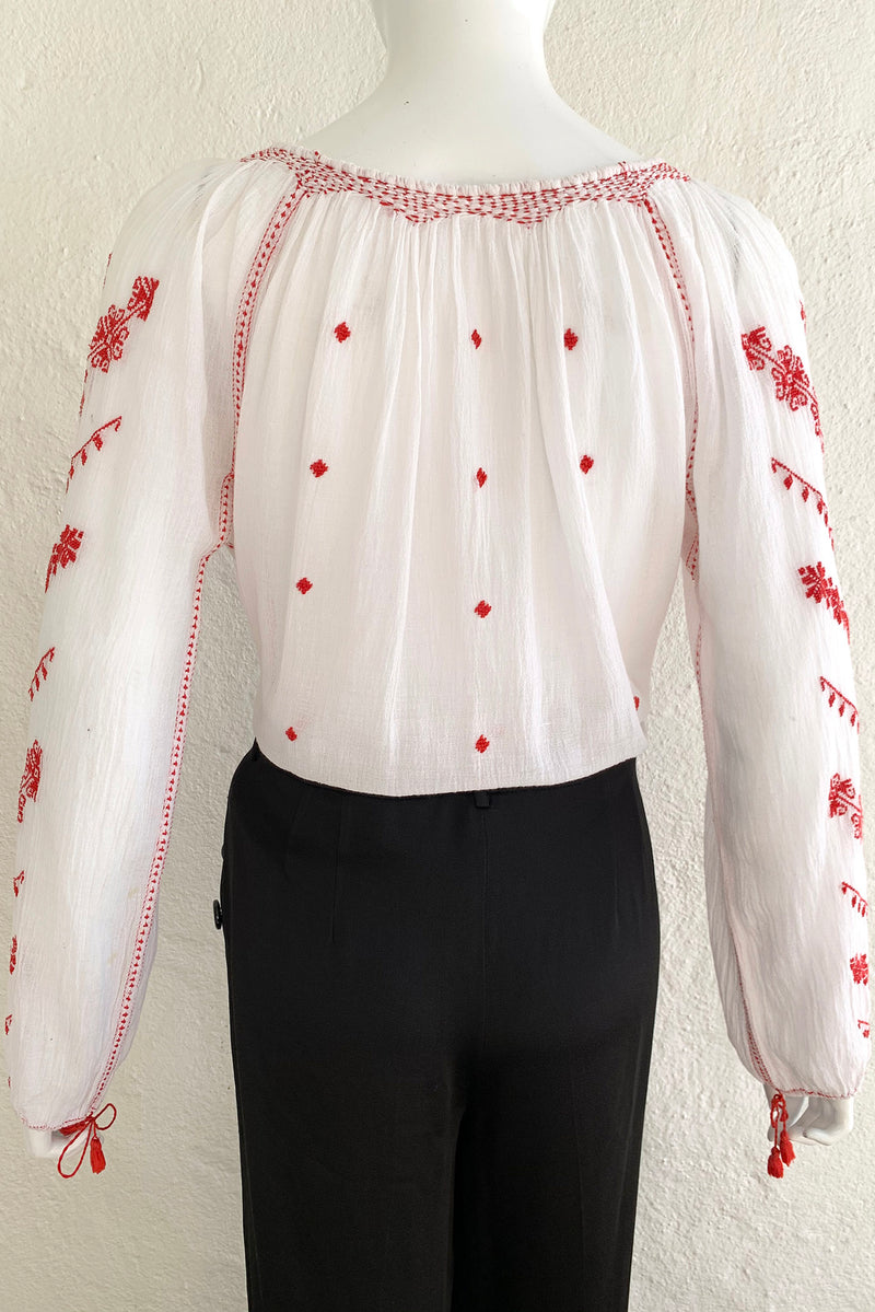 Vintage Folk Embroidered Gauze Peasant Blouse on Mannequin Back at Recess Los Angeles