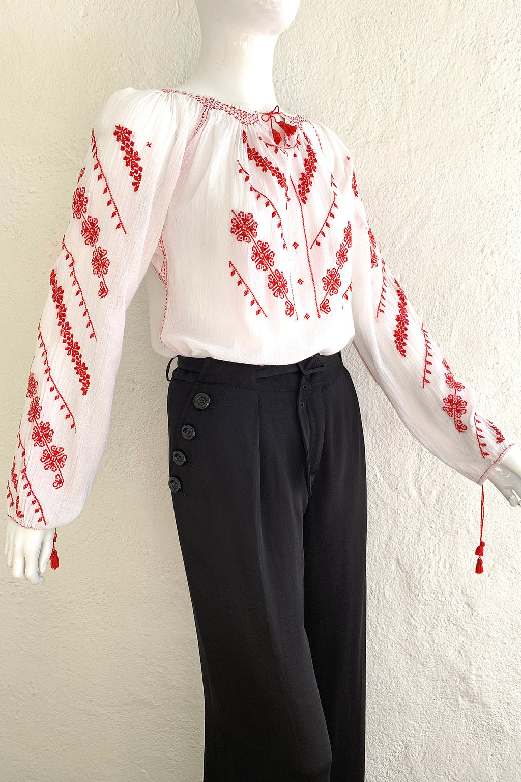Vintage Folk Embroidered Gauze Peasant Blouse on Mannequin Angle Crop at Recess Los Angeles