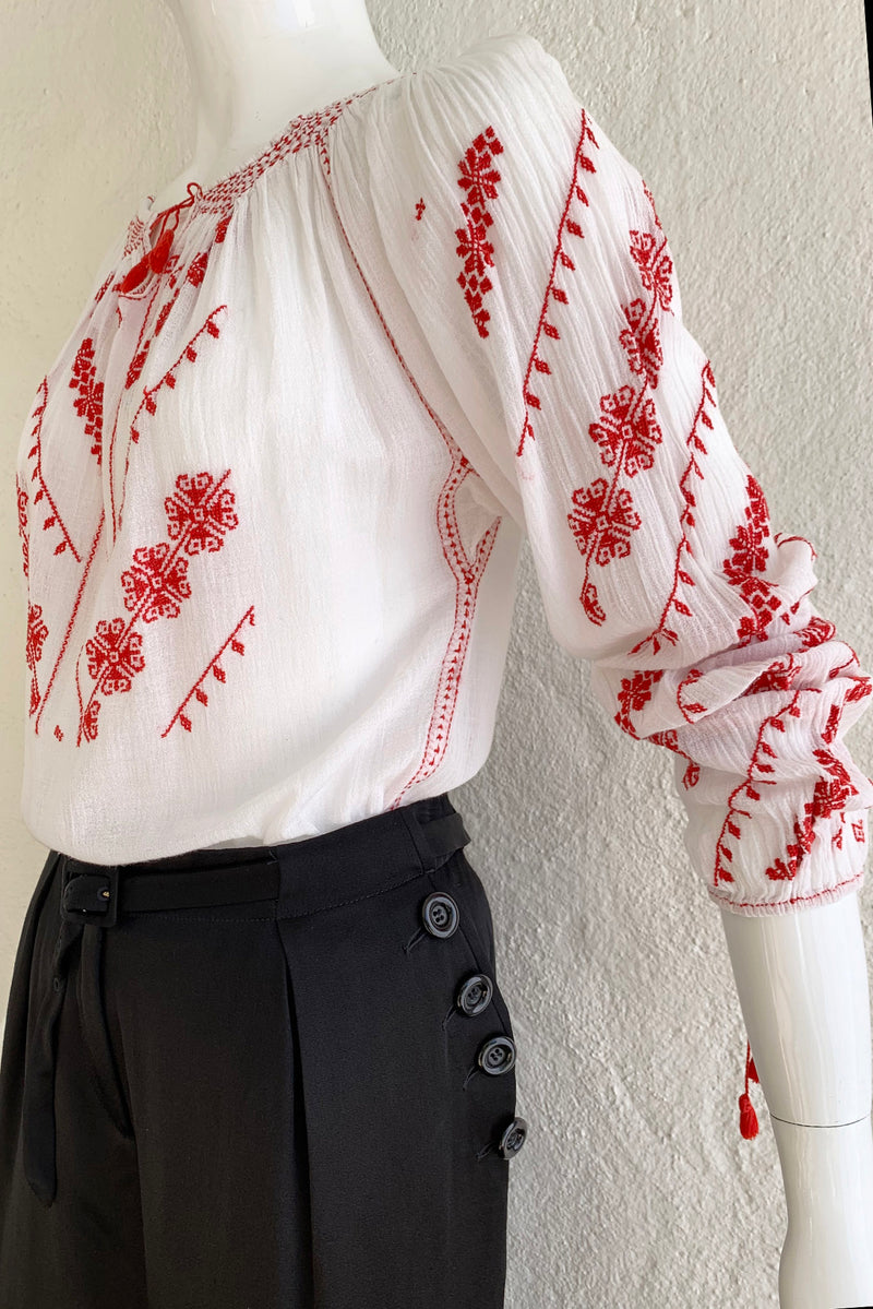 Vintage Folk Embroidered Gauze Peasant Blouse on Mannequin Sleeve Crop at Recess Los Angeles
