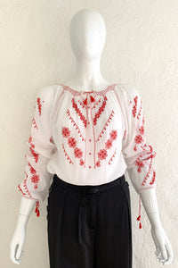 Vintage Folk Embroidered Gauze Peasant Blouse on Mannequin Front at Recess Los Angeles