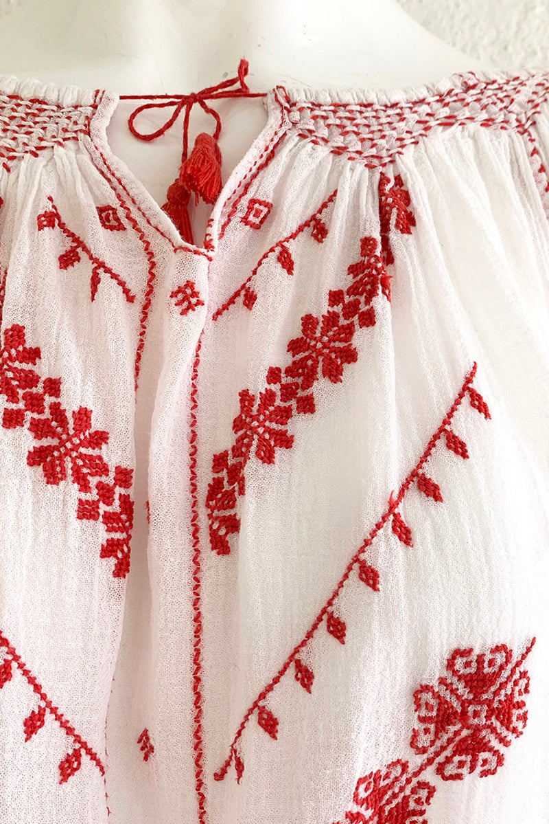 Vintage Folk Embroidered Gauze Peasant Blouse on Mannequin Embroidery Detail at Recess Los Angeles