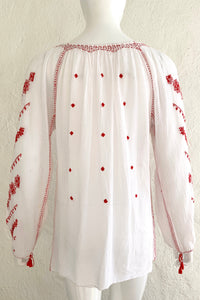 Vintage Folk Embroidered Gauze Peasant Blouse on Mannequin Back Untuck at Recess Los Angeles