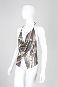 Recess Los Angeles Unsigned Vintage Mixed Metal Mesh Handkerchief Halter Top Whiting Davis