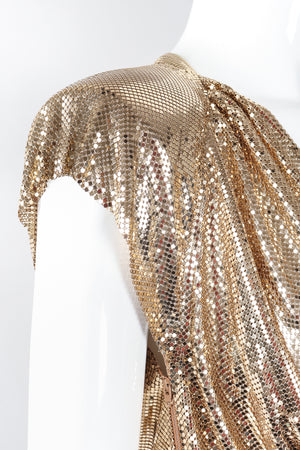 Recess Los Angeles Designer Consignment Vintage Whiting & Davis Draped Liquid Gold Metal Mesh Twist Top II