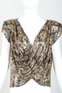 Vintage Whiting & Davis Floral Print Draped Mesh Top on Mannequin front at Recess Los Angeles