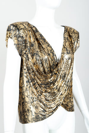 Vintage Whiting & Davis Floral Print Draped Mesh Top on Mannequin angled at Recess Los Angeles