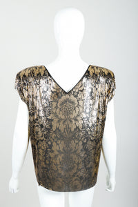 Vintage Whiting & Davis Floral Print Draped Mesh Top on Mannequin back at Recess Los Angeles