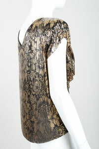 Vintage Whiting & Davis Floral Print Draped Mesh Top on Mannequin back angle at Recess Los Angeles