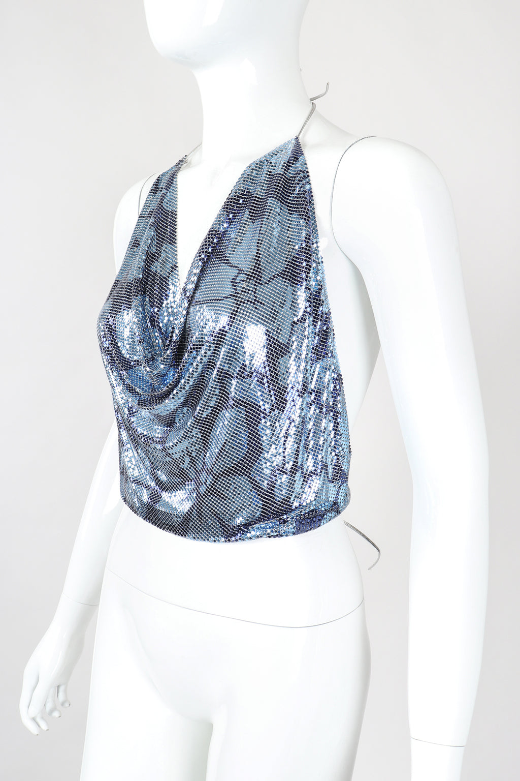 Recess Designer Consignment Vintage Whiting & Davis Rare Floral Metal Mesh Halter Top NYE Disco Ball Los Angeles Resale