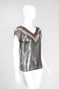 Recess Los Angeles Vintage Whiting & Davis Mixed Metal Liquid Mesh V-Neckl Tee Top