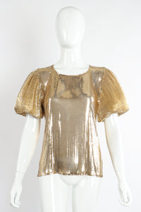 Vintage Whiting & Davis Gold Mesh Puff Sleeve Top On Mannequin Front Puff at Recess Los Angeles