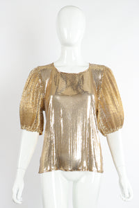 Vintage Whiting & Davis Gold Mesh Puff Sleeve Top On Mannequin Front at Recess Los Angeles