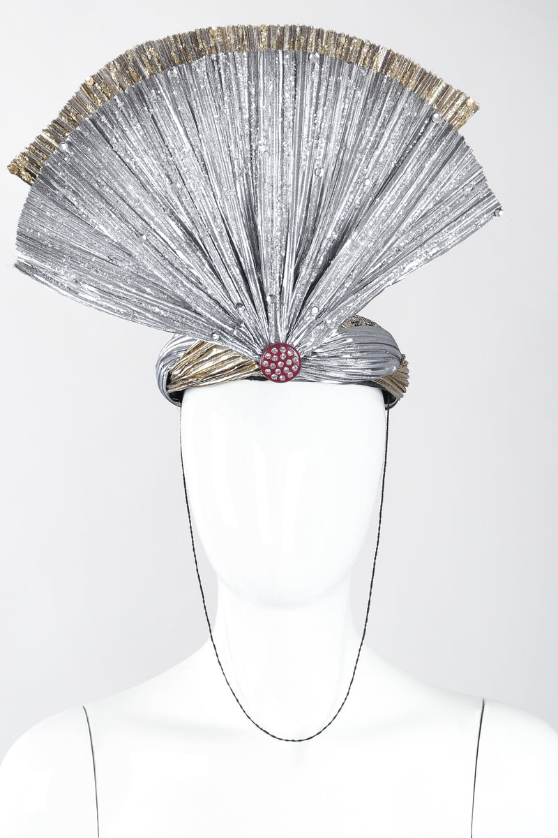 Recess Los Angeles Designer Consignment Vintage Whittall & Shon Metallic Lamé Crystal Fan Fortune Teller Hat