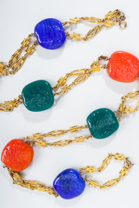 Vintage William de Lillo Hopscotch Stone Chain Necklace ZigZag at Recess