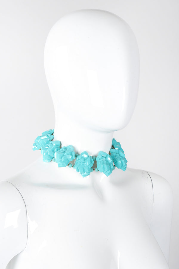 Recess Los Angeles Vintage William de Lillo Faux Turquoise Iris Apfel Pocahontas Rock Collar Necklace