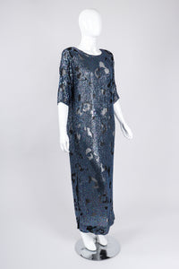 Recess Los Angeles Vintage William Silva Sheer Abstract Leopard Sequined Shift Gown