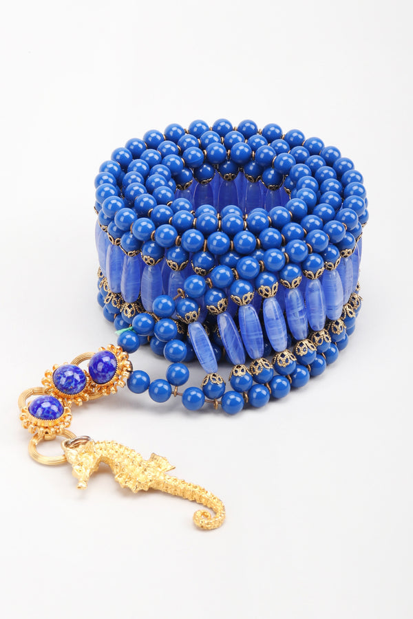 Recess Los Angeles Vintage William De Lillo Blue Lapis Glass Bead Seahorse Belt